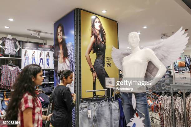 An advertisement for women's clothes is displayed at a Big Bazaar hypermarket operated by Future Retail Ltd in Mumbai India on Sunday April 16 2017...