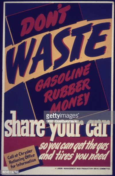 An advertisement from World War II discouraging the waste of energy and resources by instructing users to carpool together College Park Maryland 1942