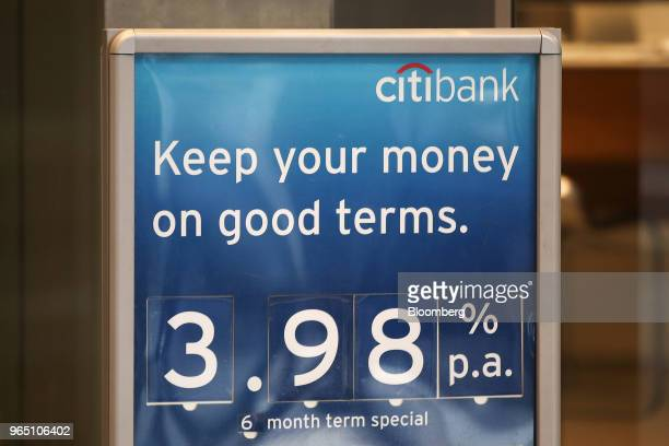 An advertisement promoting interest rates is displayed at a Citigroup Inc Citibank branch in Sydney Australia on Friday June 1 2018 Australia's...