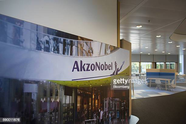 An advertisement sits on a wall at the headquarters of Akzo Nobel NV in the Zuidas business district of Amsterdam Netherlands on Monday Aug 15 2016...