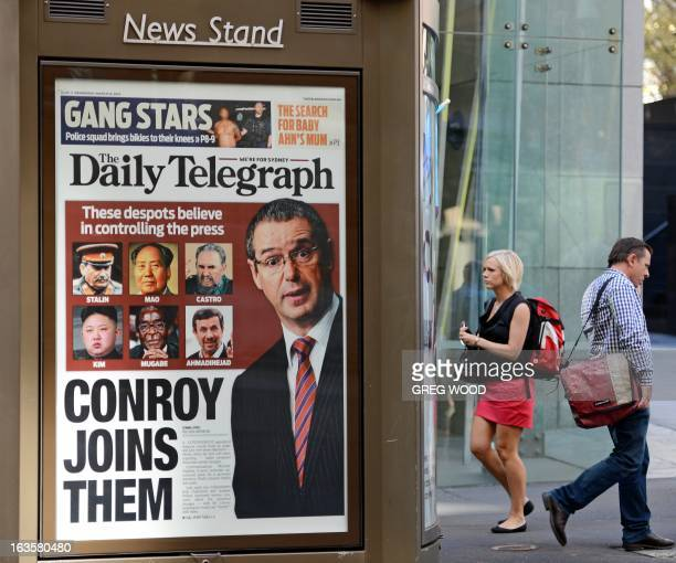 An advertising billboard showing the front page of Sydney's tabloid newspaper the Daily Telegraph is shown in the Sydney central business district on...