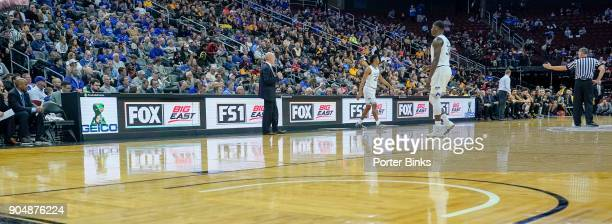 An advertising board featuring Fox Sports and Big East logos displayed at the Never Forget Tribute Classic at the Prudential Center on December 9...