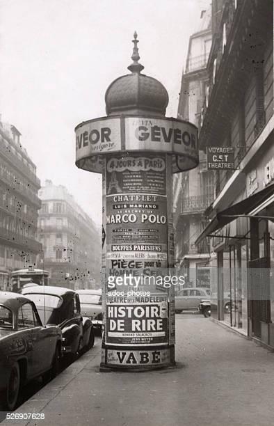 An advertising Column in Paris Ca 1960