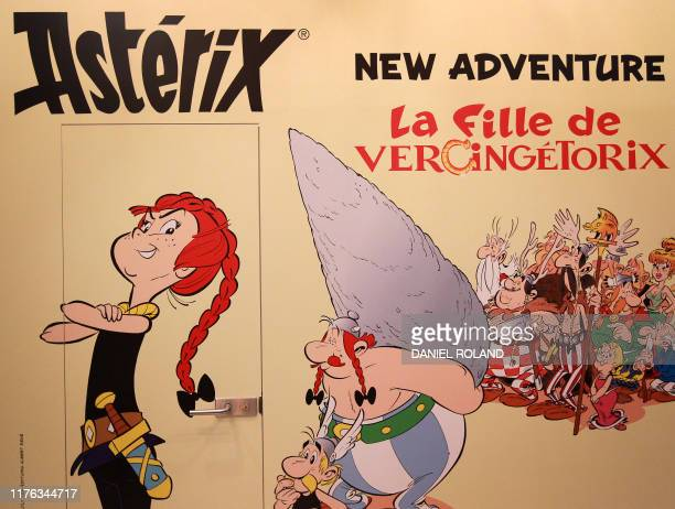 An advertising for a the Asterix graphic novel La fille de Vercingetorix is pictured at the Frankfurt book fair 2019 in Frankfurt am Main Germany on...