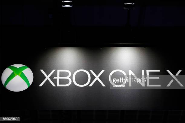 An advertising for the Microsoft Xbox One X console is displayed during the 'Paris Games Week' on November 01 2017 in Paris France 'Paris Games Week'...