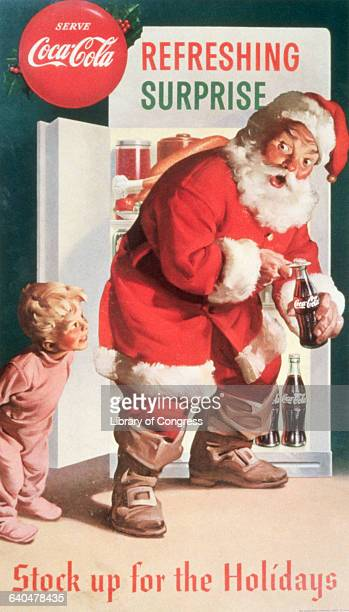An advertising poster by Haddon Sundblom shows a young boy surprising Santa Claus