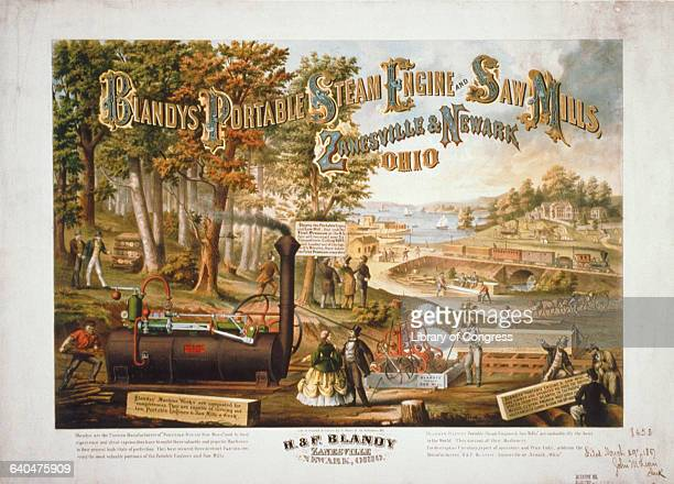 An advertising poster for Blandy's Portable Steam Engine and Saw Mills People watch as wood is milled by the engine