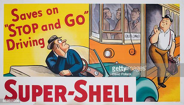 An advertising poster for Super-Shell from circa 1930s.