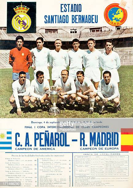 An advertising poster for the Final of the Intercontinental Cup to be played at the Santiago Bernabeu Stadium in Madrid between Real Madrid and CA...