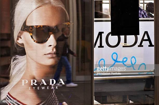 An advertising poster of Prada sunglasses Milan Italy 2013