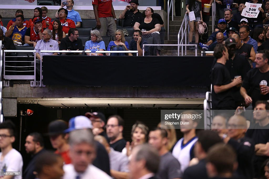 An advertising sign is blacked out as the Golden State Warriors play the Los Angeles Clippers in Game Five of the Western Conference Quarterfinals during the 2014 NBA Playoffs at Staples Center on April 29, 2014 in Los Angeles, California.