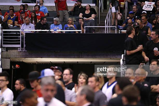 An advertising sign is blacked out as the Golden State Warriors play the Los Angeles Clippers in Game Five of the Western Conference Quarterfinals...