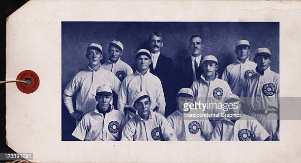 An advertising string tag is decorated with a photo of the baseball team which played for the Dennison Manufacturing company issued early to mid 20th...
