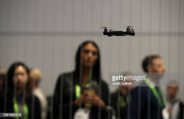 An AEE drone is demonstrated at the AEE booth during CES 2019 at the Las Vegas Convention Center on January 9 2019 in Las Vegas Nevada CES the...