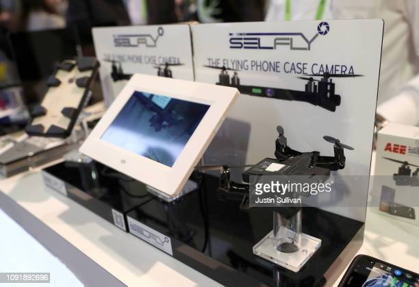 An AEE SELFLY phone case drone is displayed at the AEE booth during CES 2019 at the Las Vegas Convention Center on January 9 2019 in Las Vegas Nevada...