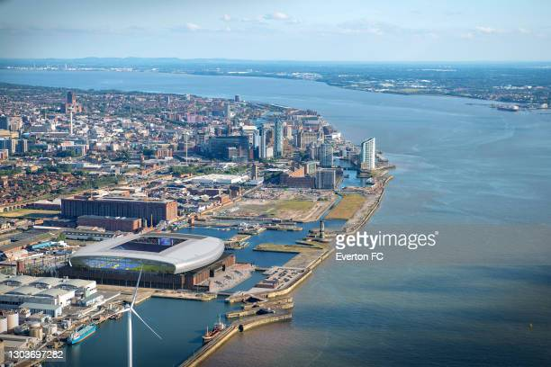 An aerial artist's illustration of the proposed new Everton Football Club stadium at Bramley Moore Dock on February 23, 2021 in Liverpool, England.