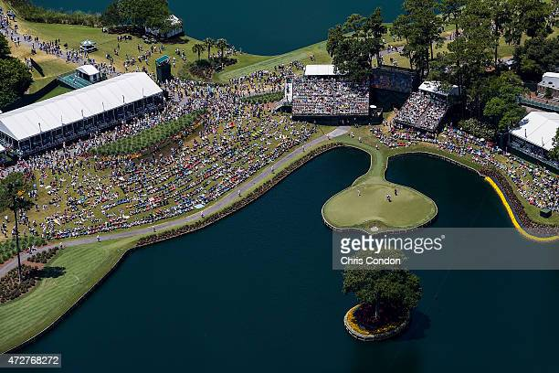 An aerial course overview as fans watch play on the 16th and 17th holes during the third round of THE PLAYERS Championship on THE PLAYERS Stadium...