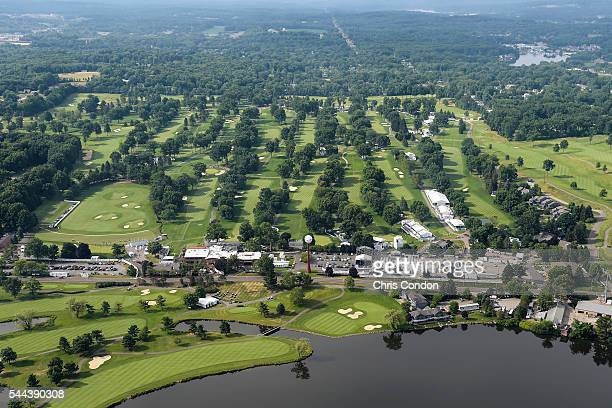 An aerial course overview from the MetLife Snoopy Two Blimp during the final round of the World Golf ChampionshipsBridgestone Invitational at...