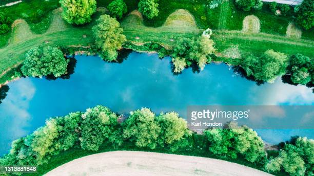 an aerial daytime view looking down at a river surrounded by trees - stock photo - drone point of view stock pictures, royalty-free photos & images