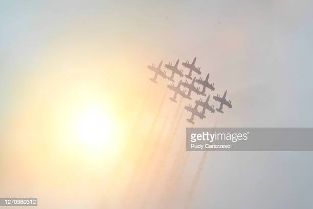 An aerial display is seen over the grid before the F1 Grand Prix of Italy at Autodromo di Monza on September 06, 2020 in Monza, Italy.