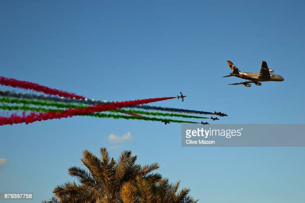 An aerial display over the circuit before the Abu Dhabi Formula One Grand Prix at Yas Marina Circuit on November 26 2017 in Abu Dhabi United Arab...