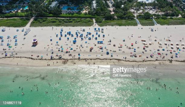 An aerial drone view as beachgoers take advantage of the opening of South Beach on June 10 2020 in Miami Beach Florida MiamiDade county and the City...