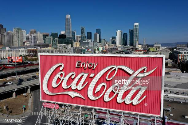 An aerial drone view of a Coca-Cola billboard in the South of Market Area on October 26, 2020 in San Francisco, California. A Coca-Cola billboard...