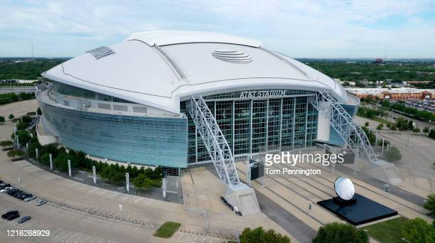 An aerial drone view of AT&T Stadium, where the Dallas Cowboys NFL football team plays, on April 01, 2020 in Arlington, Texas. The NBA, NHL, NCAA and...