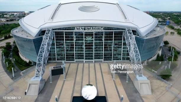 An aerial drone view of ATT Stadium where the Dallas Cowboys NFL football team plays on April 01 2020 in Arlington Texas The NBA NHL NCAA and MLB...