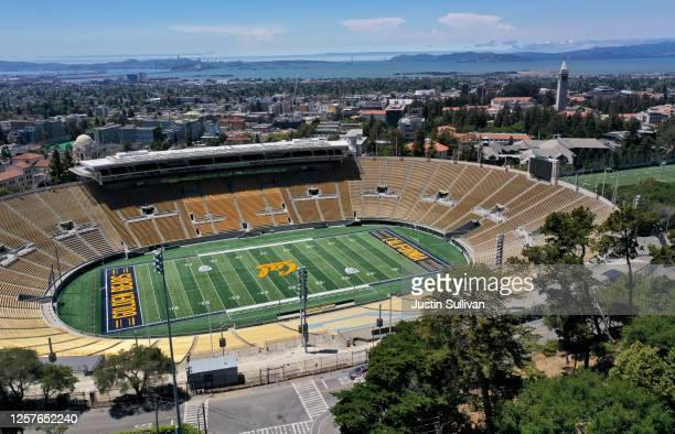 An aerial drone view of California Memorial Stadium at U.C. Berkeley on July 22, 2020 in Berkeley, California. U.C. Berkeley announced plans on...