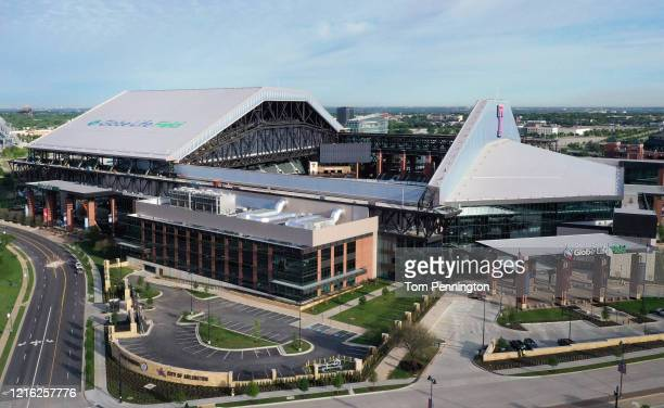 An aerial drone view of Globe Life Field, home of the Texas Rangers MLB team, on April 01, 2020 in Arlington, Texas. The grand opening of Globe Life...