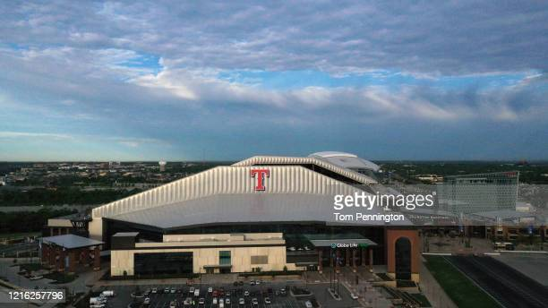 An aerial drone view of Globe Life Field home of the Texas Rangers MLB team on April 01 2020 in Arlington Texas The grand opening of Globe Life Field...