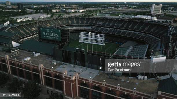 An aerial drone view of Globe Life Park, the former home of the Texas Rangers MLB team, on April 01, 2020 in Arlington, Texas. The Texas Rangers were...