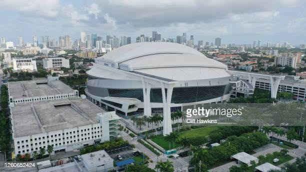 An aerial drone view of Marlins Park on July 27, 2020 in Miami, Florida. The Miami Marlins' home opener against the Baltimore Orioles was postponed...