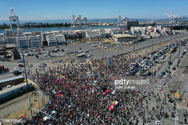An aerial drone view of protesters during a Juneteenth rally and march at the Port of Oakland on June 19 2020 in Oakland California Thousands of...