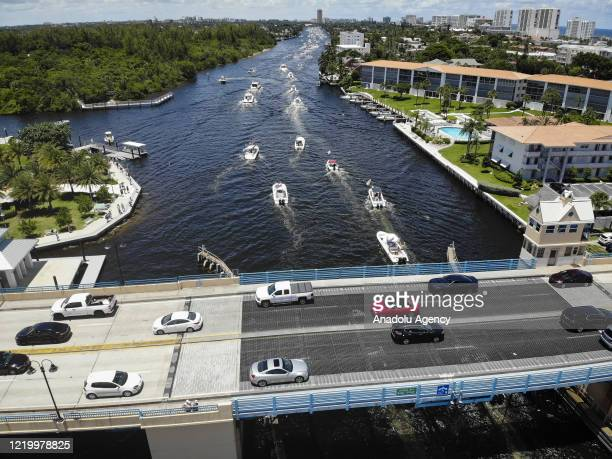 An aerial drone view of US President Donald Trump supporters during a boat rally to celebrate his birthday at Intracoastal waterway in Deerfield...