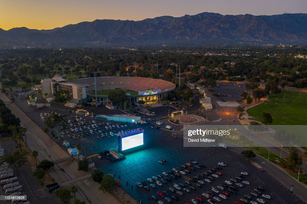 An Aerial Drone View Shows A Temporary Drive In Movie Theater At The News Photo Getty Images