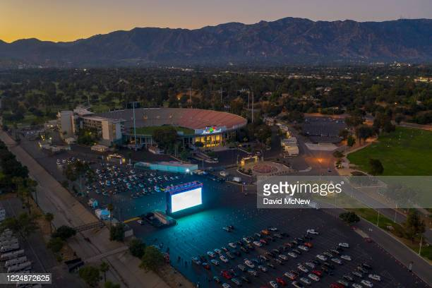 An aerial drone view shows a temporary drive-in movie theater at the Rose Bowl stadium, known for its spectacular Fourth of July fireworks which were...