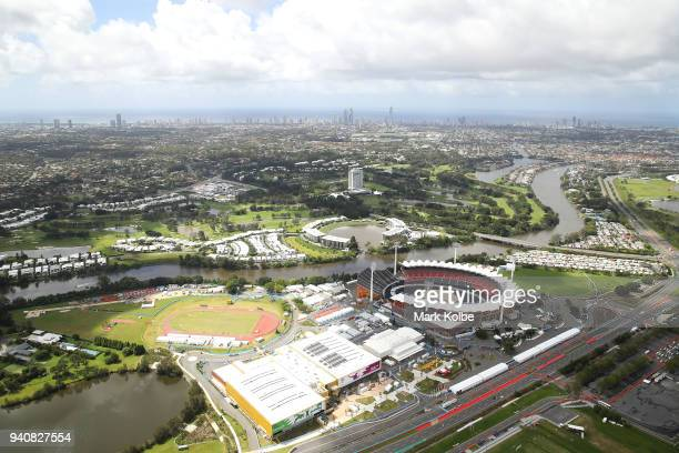 An aerial general view of Carrara Stadium is seen with the Gold Coast skyline behind ahead of the 2018 Commonwealth Games on April 2 2018 in Gold...