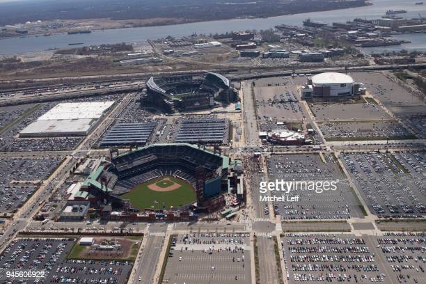 An aerial general view of Citizens Bank Park, Lincoln Financial Field and the Wells Fargo Center prior to the game between the Miami Marlins and...