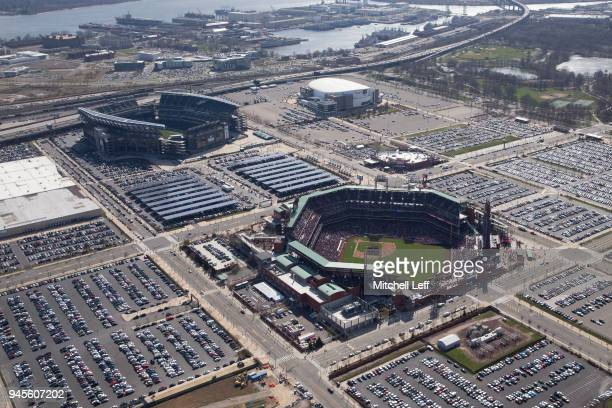 An aerial general view of Citizens Bank Park Lincoln Financial Field and the Wells Fargo Center during the game between the Miami Marlins and...