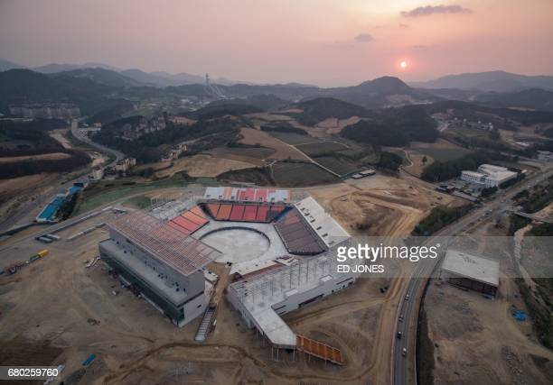 An aerial general view taken on April 30 2017 shows the opening ceremony venue for the 2018 Pyeongchang Winter Olympics in Pyeongchang Ticket sales...