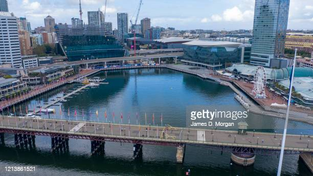 An aerial image of a quiet Darling Harbour on March 21, 2020 in Sydney, Australia. Prime Minister Scott Morrison on Friday introduced further...