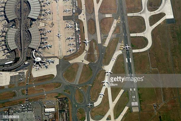 An aerial image of Aeroport RoissyCharles De Gaulle Paris