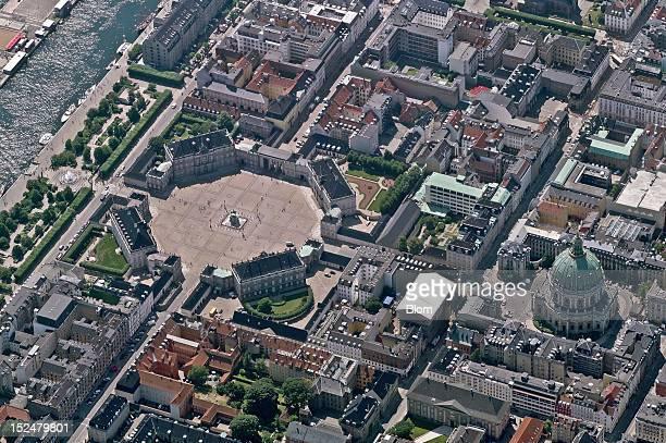 An aerial image of Amalienborg Palace, Copenhagen