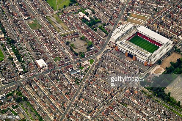 An aerial image of Anfield Liverpool