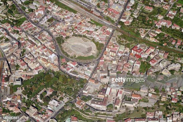 An aerial image of Anfiteatro Pozzuoli Napoli