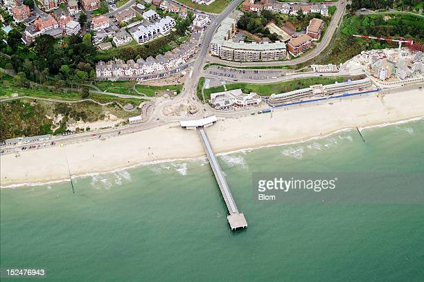 An aerial image of Boscombe Pier Bornemouth