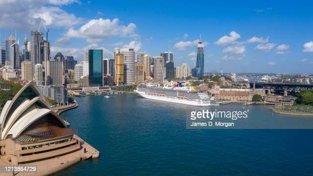An aerial image of Carnival Cruise Line cruise ship Carnival Spirit at the Overseas Passenger Terminal in Circular Quay on March 21 2020 in Sydney...