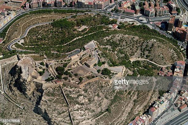 An aerial image of Castillo De Sta Barbara Alicante